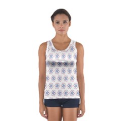 Modern Red And Blue Stars Pattern On White Tops