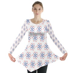 Modern Red And Blue Stars Pattern On White Long Sleeve Tunic