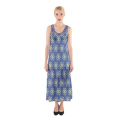 Modern Star Pattern Yellow White On Blue Full Print Maxi Dress
