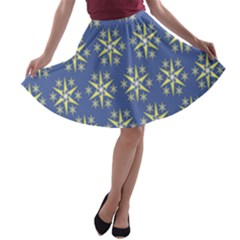 Modern Star Pattern Yellow White On Blue A-line Skater Skirt