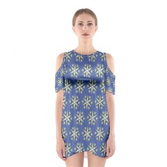 Modern Star Pattern Yellow White On Blue Cutout Shoulder Dress
