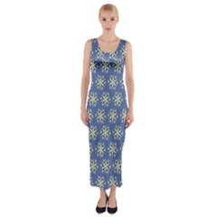 Modern Star Pattern Yellow White On Blue Fitted Maxi Dress