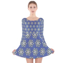 Modern Star Pattern Yellow White On Blue Long Sleeve Velvet Skater Dress