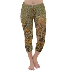 Floral Print Grunge Collage Capri Winter Leggings