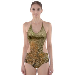 Floral Print Grunge Collage Cut-Out One Piece Swimsuit