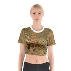Floral Print Grunge Collage Cotton Crop Top