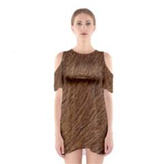 Orange Fur Cutout Shoulder Dress