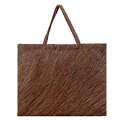 Orange Fur Zipper Large Tote Bag