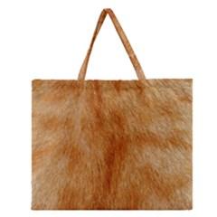 Orange Fur 2 Zipper Large Tote Bag