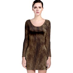 Silber Tiger Fur Long Sleeve Velvet Bodycon Dress