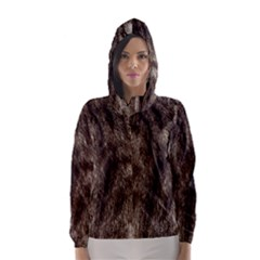 Black and White Silver Tiger Fur Hooded Wind Breaker (Women)