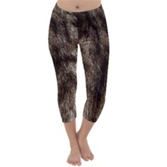 Black and White Silver Tiger Fur Capri Winter Leggings
