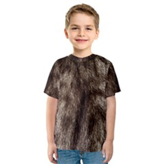 Black and White Silver Tiger Fur Kid s Sport Mesh Tee