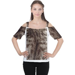 Black and White Silver Tiger Fur Women s Cutout Shoulder Tee