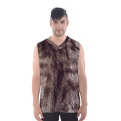 Black and White Silver Tiger Fur Men s Basketball Tank Top