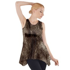 Black and White Silver Tiger Fur Side Drop Tank Tunic