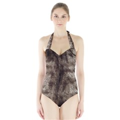 Black and White Silver Tiger Fur Women s Halter One Piece Swimsuit
