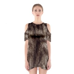 Black And White Silver Tiger Fur Cutout Shoulder Dress