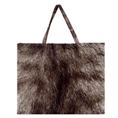 Black and White Silver Tiger Fur Zipper Large Tote Bag