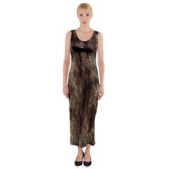 Black and White Silver Tiger Fur Fitted Maxi Dress