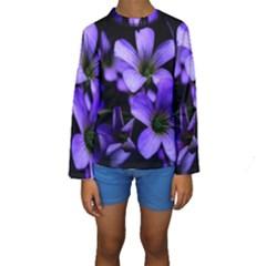 Springtime Flower Design Kid s Long Sleeve Swimwear