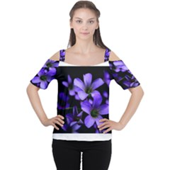 Springtime Flower Design Women s Cutout Shoulder Tee
