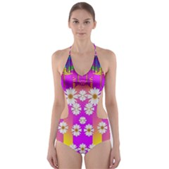 Over and under the rainbow is love Cut-Out One Piece Swimsuit