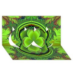 Green Clover Twin Hearts 3d Greeting Card (8x4)