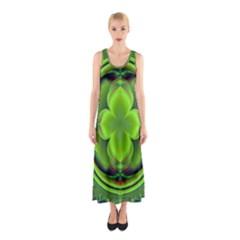 Green Clover Full Print Maxi Dress