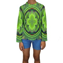Green Clover Kid s Long Sleeve Swimwear