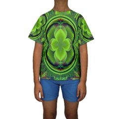 Green Clover Kid s Short Sleeve Swimwear