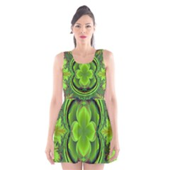 Green Clover Scoop Neck Skater Dress
