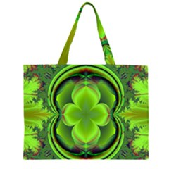 Green Clover Zipper Large Tote Bag