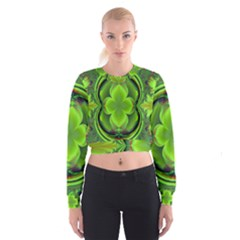 Green Clover Women s Cropped Sweatshirt