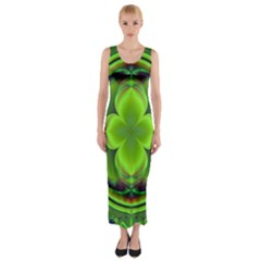 Green Clover Fitted Maxi Dress