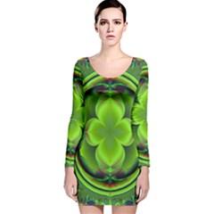 Green Clover Long Sleeve Velvet Bodycon Dress