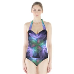 Ethereal Flowers Women s Halter One Piece Swimsuit
