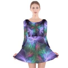Ethereal Flowers Long Sleeve Velvet Skater Dress