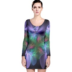 Ethereal Flowers Long Sleeve Velvet Bodycon Dress