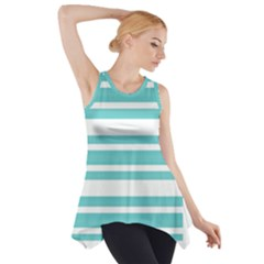 Teal adn White Stripe Designs Side Drop Tank Tunic