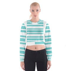 Teal adn White Stripe Designs Women s Cropped Sweatshirt