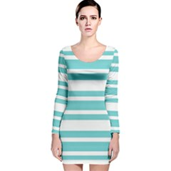 Teal Adn White Stripe Designs Long Sleeve Velvet Bodycon Dress