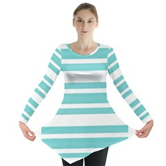Teal adn White Stripe Designs Long Sleeve Tunic