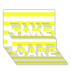 Bright Yellow And White Stripes Take Care 3d Greeting Card (7x5)
