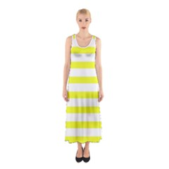 Bright Yellow And White Stripes Full Print Maxi Dress
