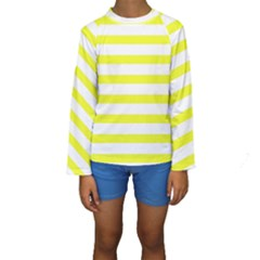 Bright Yellow And White Stripes Kid s Long Sleeve Swimwear