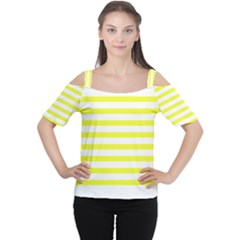 Bright Yellow and White Stripes Women s Cutout Shoulder Tee