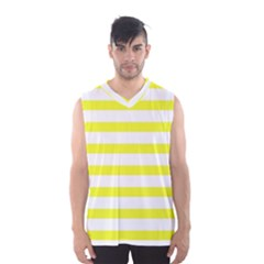 Bright Yellow and White Stripes Men s Basketball Tank Top