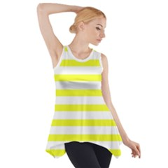 Bright Yellow and White Stripes Side Drop Tank Tunic