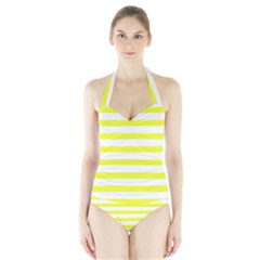 Bright Yellow and White Stripes Women s Halter One Piece Swimsuit